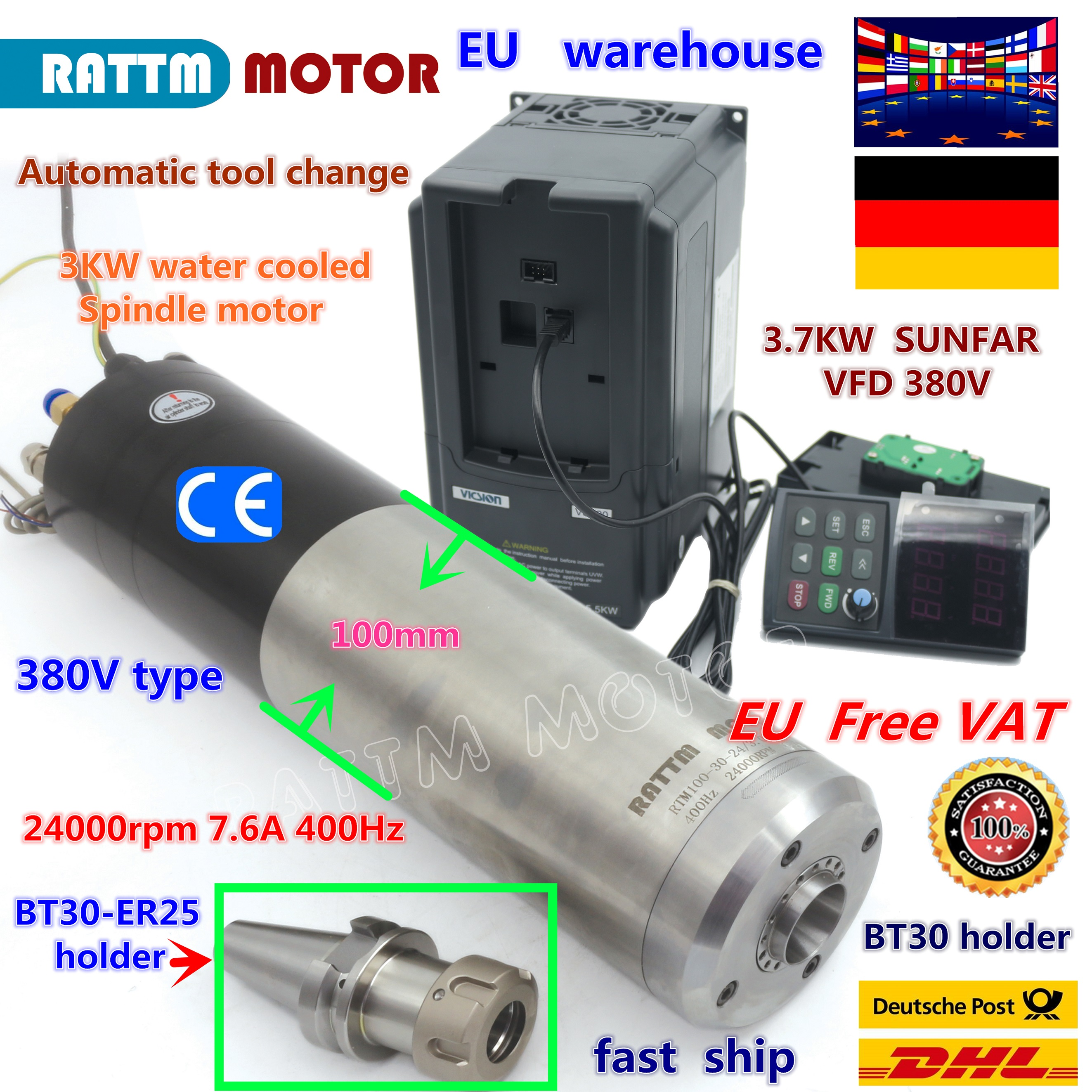 【Free VAT】 3KW ATC Water Cooled Automatic Tool Change Spindle Motor BT30 & 3.7KW VFD Inverter 220V / 380V FOR CNC Router MILLING