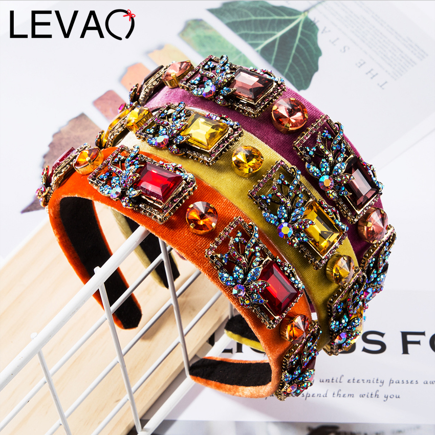 LEVAO Shiny Rhinestone Headband Velvet Wide Hairband Hair Accessories For Women Luxury Crystal Head Hoops Hair Bands Headwear