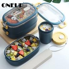 ONEUP 휴대용 304 스테인레스 스틸 도시락 상자 사무원 Bento Box 2020 새로운 대용량 학생 어린이 식품 용기