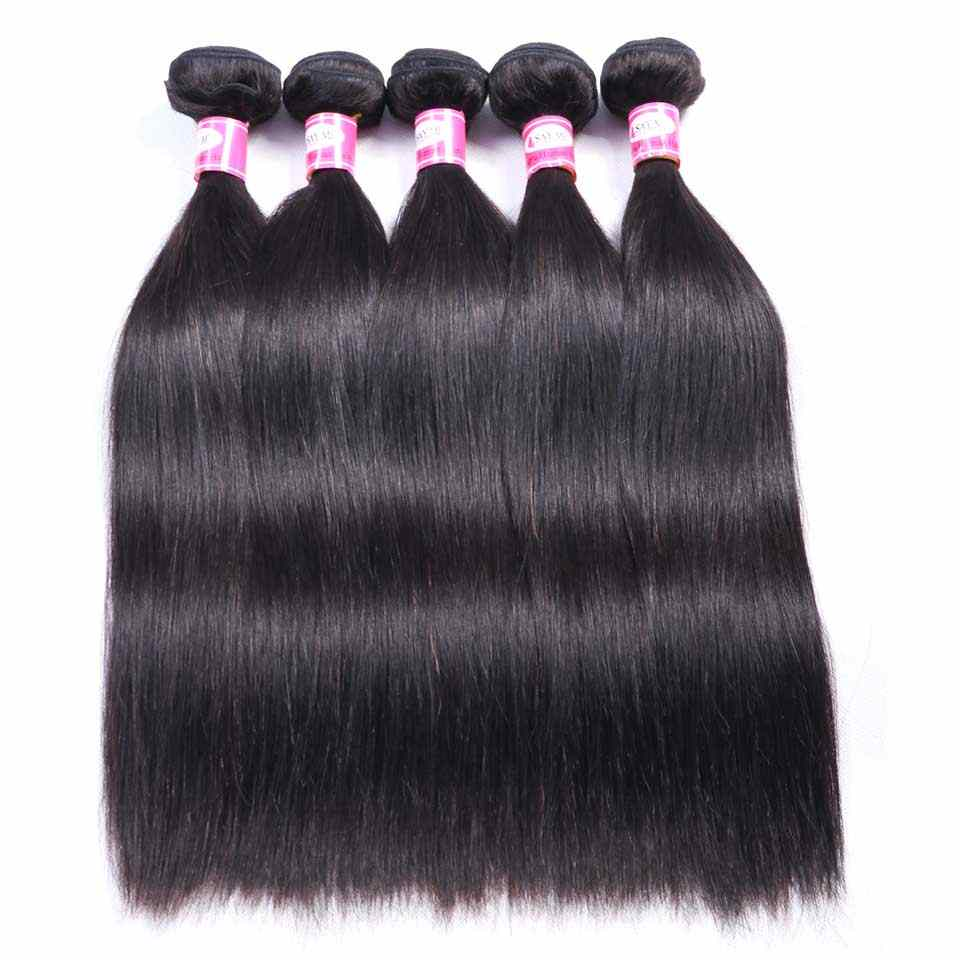SAY ME pelo lacio 3/4 mechones con cierre extensiones de cabello humano con cierre mechones de pelo peruano con cierre de pelo Remy