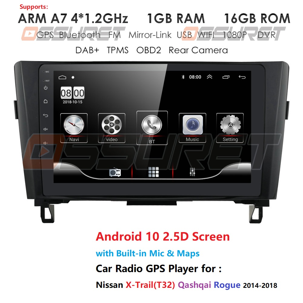 Android 10.0 Car Multimedia Player GPS Navigation for Nissan X-Trail Qashqai Rogue 2014-2018 support DAB+ Bluetooth SWC HD 1080P