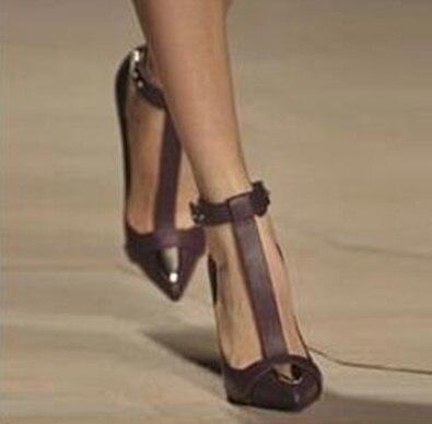 Zapatos de mujer de tacón alto delgado con puntera en T con correa de metal - 3