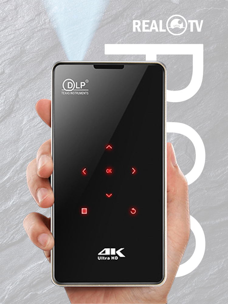 Real tv p09 mini portátil dlp android projetor cinema em casa hdmi suporte 4k wifi bluetooth miracast airplay telefone móvel-1