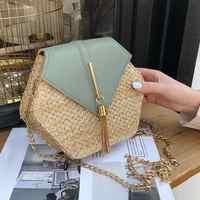 Neue Mode Hexagon Mulit Stil Stroh + pu Tasche Handtaschen Frauen Sommer Rattan Tasche Handarbeit Gewebt Strand bolsa feminina