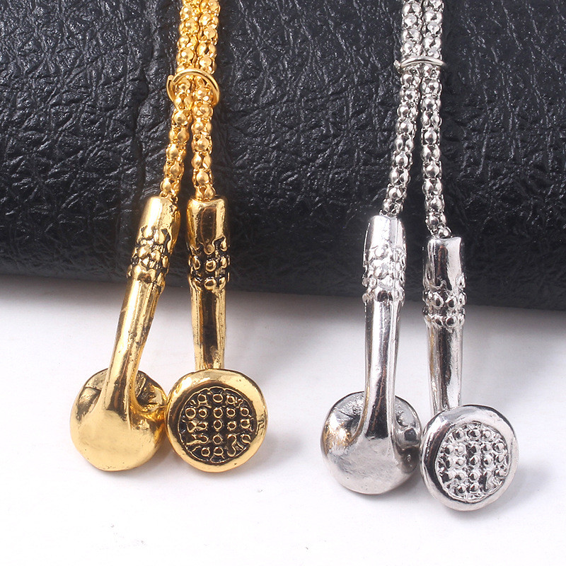 Fashion Jewelry Men Necklaces Hip Hop Music Headphone Pendant Necklaces Cool Gifts Mens Jewellery Headsets Long Link Chain YT67