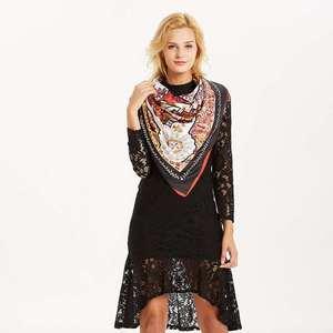 Image 3 - Women Vintage Square Silk Shawl Luxury Brand Symmetrical Scarf 130*130cm Shawls Stole Large Pattern Twill Shawl Wholesale