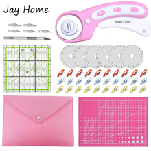 26pcs Rotary Cutter Kit 45mm Rotary Cutter & A4 Self Healing Cutting Mat&Patchwork Ruler&Blade for Quilting Leather Crafting