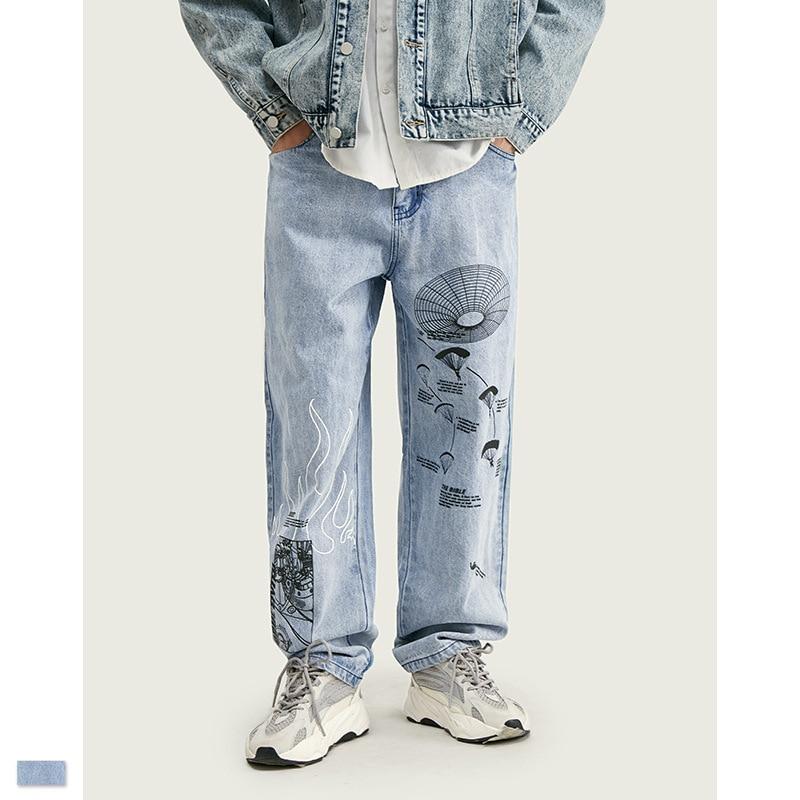 Cooo Coll Men Women Long Jeans Hip Hop Streetwear Print Jogger Biker Kanye West trousers Casual Fashion Jean Pants