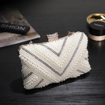 Women Fashion Evening Bag Pearl Diamond Studded Luxury Clutch Purse Metal Frame Lady Crossbody Shoulder Bag Wedding Party Bag