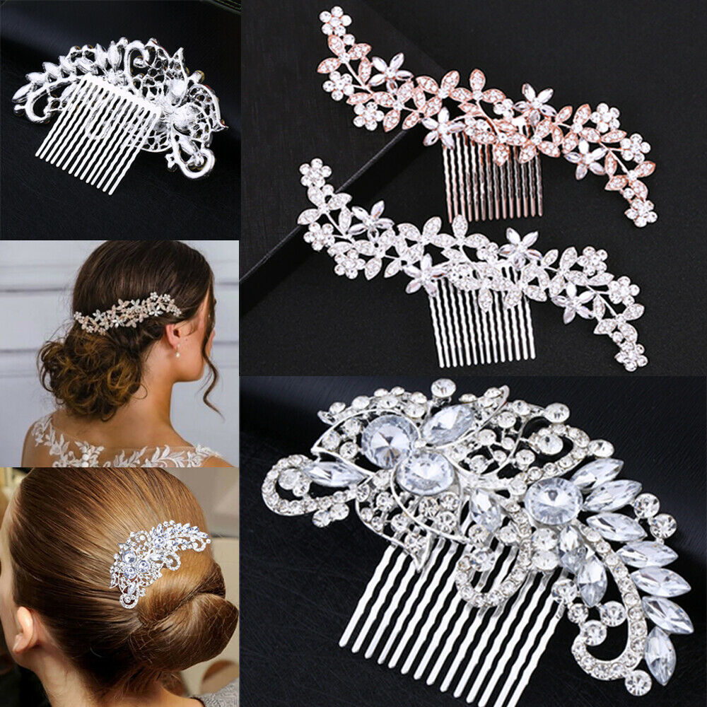 1Pcs Women Girl Wedding Diamond Crystal Hair Comb Pins Hair Clip Princess Flower Rhinestone Bridal Hair Sticker Tiaras Hairgrips