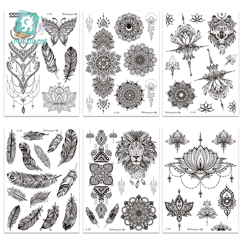 1 Sheet Hand Body Tattoo Temporary Waterproof Jewelry Lace Totem Lotus Mandala Tatto Decal Waist Art Tatoo Sticker Women 21x15CM