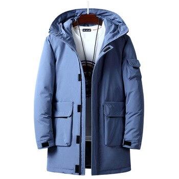 Brand Winter Down Jacket Men Parkas Fashion Hooded Collar Mid-long Winter Coat Men M-3XL Windbreaker Thick Warm Outerwear Men