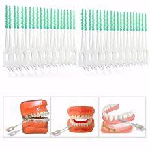 40 шт./кор. двойной нити головки гигиена полости рта силикона для ухода за межзубным пространством щетка-зубочистка бытовой зубная нить