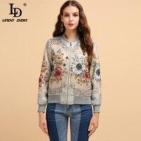 LD LINDA DELLA Fashion Runway Autumn Winter Jackets Women's Long Sleeve Gorgeous Beading Jacquard Elegant Vintage Coats Tops