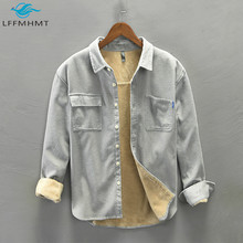 Men Winter New Trendy Thick Fleece Soft Bottoming Corduroy Top High Quality Japan Style Solid Color Long Sleeve Lapel Shirt Male