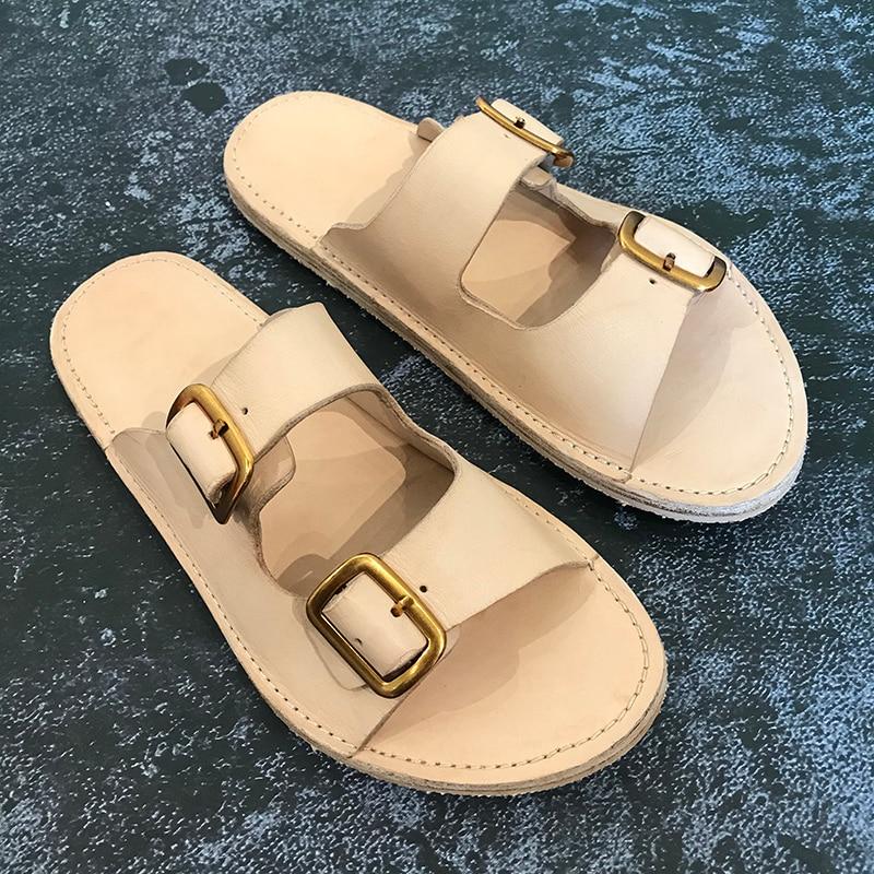 Mode echt lederen casual schoenen mannen wandelen strand slippers heren slippers handgemaakte lederen sandalen - 5