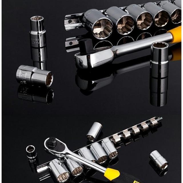 Stanley 11pcs 1/2 square drive 12 point socket set 60 teeth high torque ratchet wrench set mechanics combination tools spanner 5