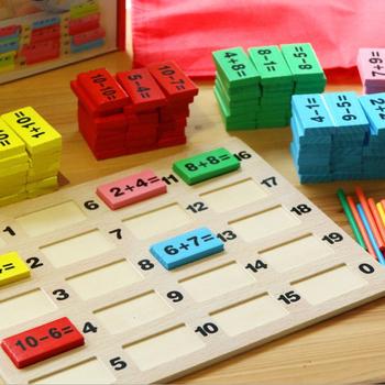 Wczesna edukacja dziecięca cyfrowa operacja bloki konstrukcyjne domino wczesna edukacja dziecięca intelektualne klocki budowlane tanie i dobre opinie Drewna Water-based environmental protection paint wooden Arithmetic Domino