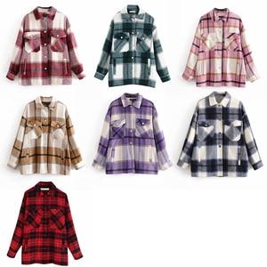 Image 4 - ฤดูหนาวของผู้หญิงเสื้อลายสก๊อตขนาดใหญ่กระเป๋าเสื้อOutwearเสื้อผ้าสำหรับสตรีRopa Mujerผู้หญิงเสื้อและเสื้อ