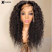 Cabelo humano encaracolado 13x4 peruca do laço do cabelo humano pré arrancado encaracolado parte profunda 6 wig wig peruca frontal do laço 180 densidade peruca dianteira do laço 26 Polegada
