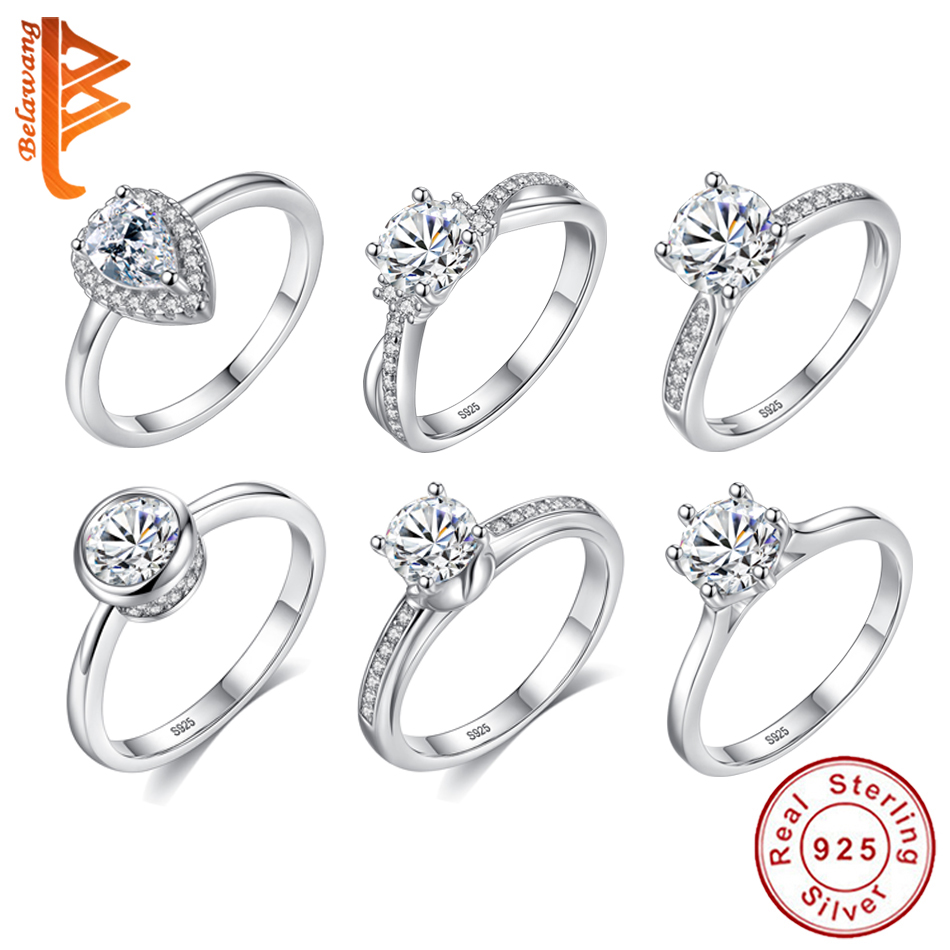 BELAWANG High Quality 925 Sterling Silver AAA+ Rhinestone Engagement Rings For Women Silver Wedding Rings Female Jewelry