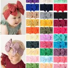 Bulk 30pc/lot Newborn Kids Handmade Wide Nylon Headbands,Knotted Hair Bow Nylon Baby Headband,Children Girls Hair Accessories
