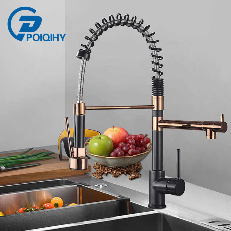 Black Rose Gold Spring Kitchen Faucet Pull Down Kitchen sink Faucets Dual Swivel Spout Kitchen Crane Hot Cold Water Mixer Taps