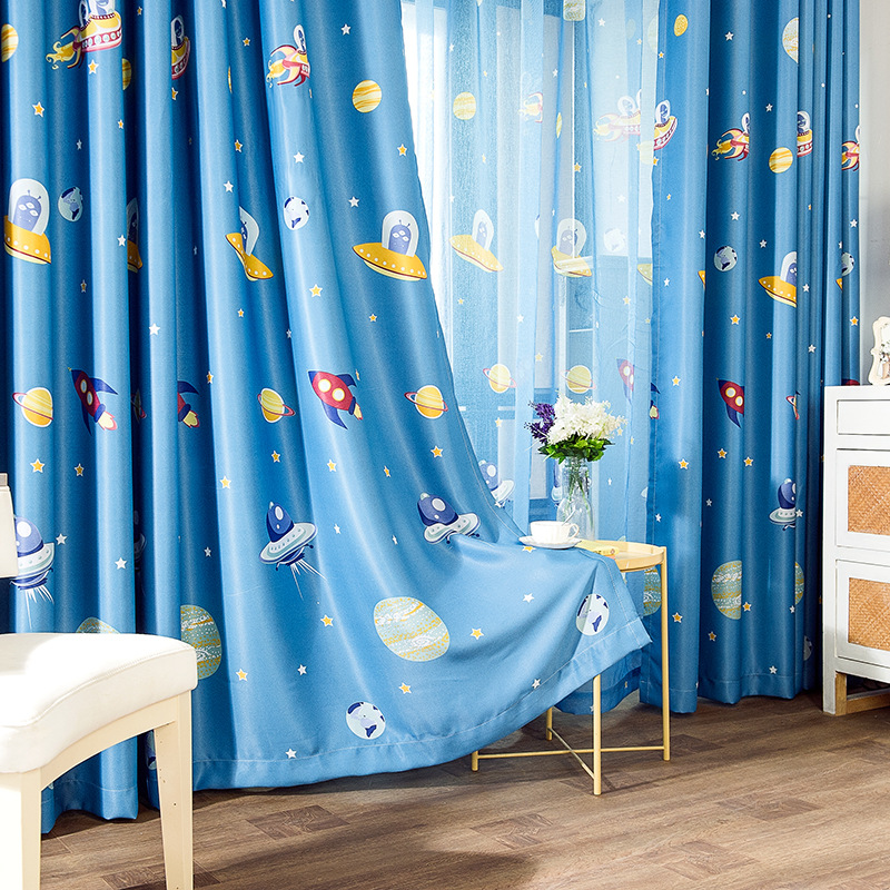 Cartoon Rocket Spaceship Printed Curtain for Kids Children Boy Blackout Nursery Blue Outer Space French Window Blinds zh416C