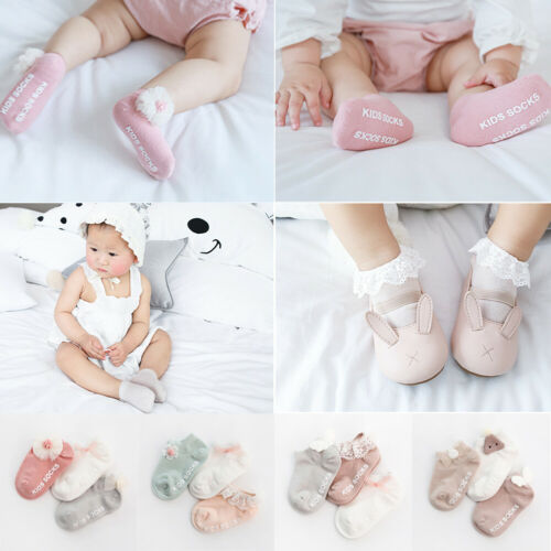 Pudcoco Children Accessories Newborn Infant Baby Kids Girls Toddlers Soft Cotton Lace Bow Princess Angel Ankle Socks 3Pairs/Sets