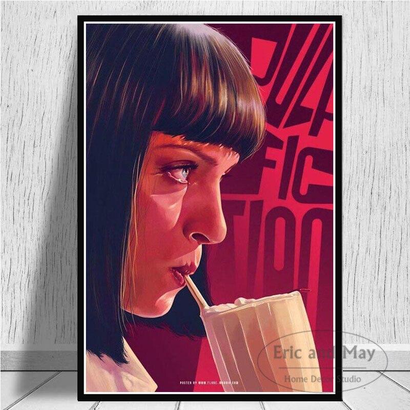 Pulp kurgu Quentin Tarantino posterler ve baskılar tuval boyama duvar sanat resmi Vintage film dekoratif ev dekor Affiche