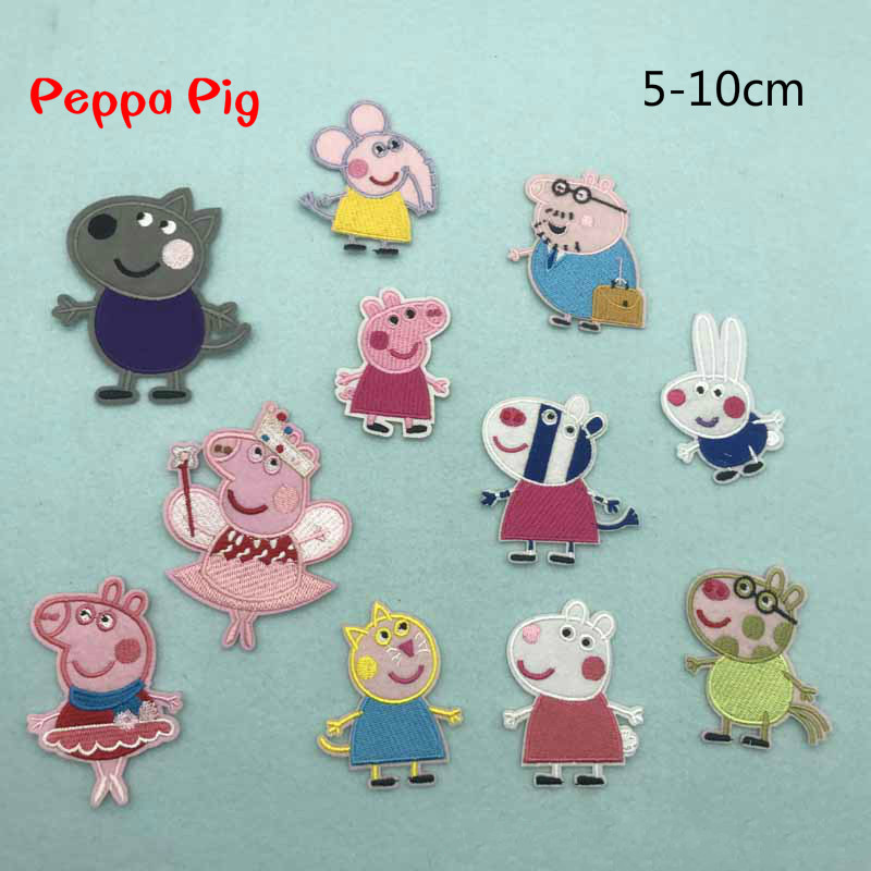 Cute Peppa Pig On Patch Clothing Embroidered Sewing Applique Sew On Fabric Badge Apparel Accessories Sticker Cartoon Decorative