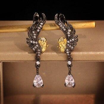 Pendientes de alas de Ángel CHARLINLIOL de Plata de Ley 925 Vintage para mujer, pendientes largos negros y dorados en dos tonos, joyería italiana