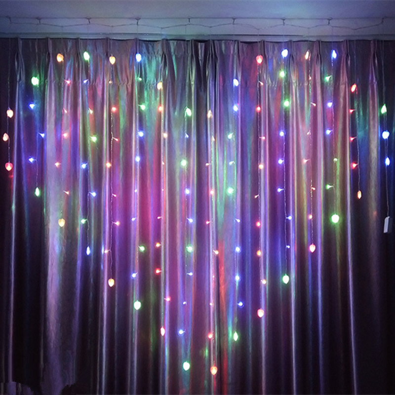 6 Color Heart Shaped Garland Curtains Light Strings Fairy Garland On The  Window EUplug Decoration Light For Valentine Wedding