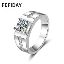 FEFIDAY Big Wide Zirconia Stone Promise Crystal Love Men's Engagement Ring Men Fashion Large Men Simple Jewelry Wedding Rings(China)