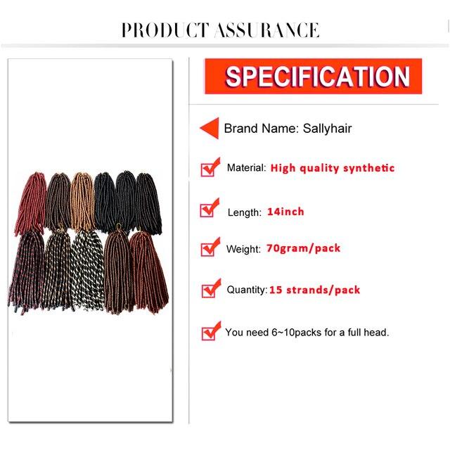 Sallyhair 14inch 70g/pack Faux Locs Synthetic Braiding Hair Extensions Afro Hairstyles Soft Dreadlock Brown Black Crochet Braids 2