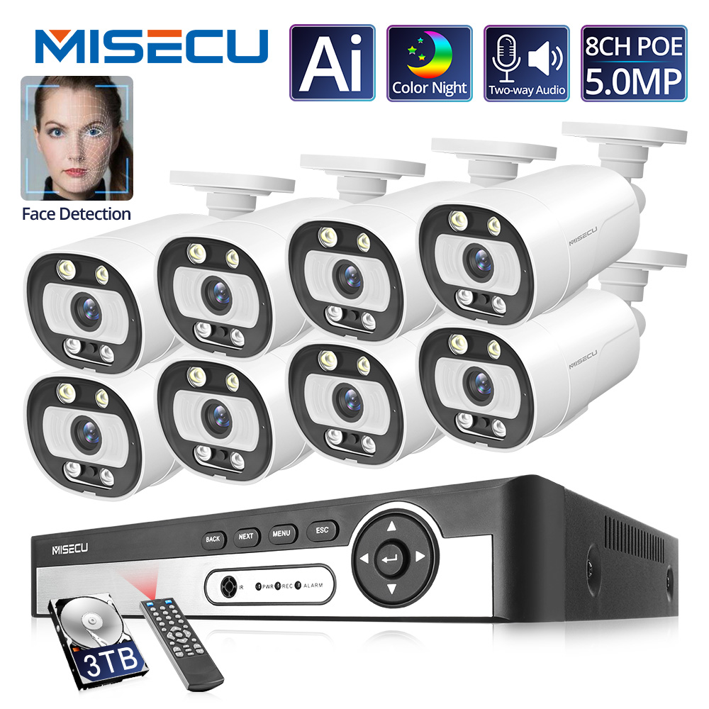 MISECU 5MP NVR Kit 8CH 4CH POE Camera System Human/Face Detection Two-way Audio Ai IP Camera Outdoor Security Video Surveillance