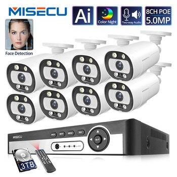 MISECU 5MP zestaw monitoringu NVR 8CH 4CH kamera POE System człowieka/wykrywanie twarzy dwukierunkowe Audio Ai kamera IP bezpieczeństwo zewnętrzne nadzoru wideo