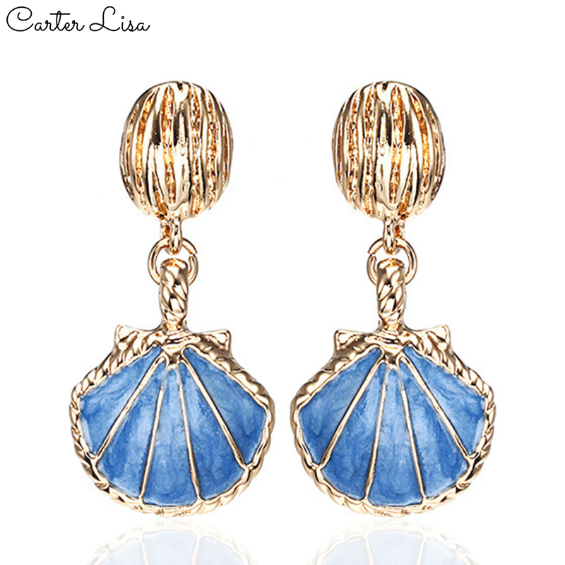 CARTER LISA 2019 New Romantic Resin Colorful Mermaid White&Blue Pearl Shell Drop Earrings For Women Dangle Earring Charm Jewelry