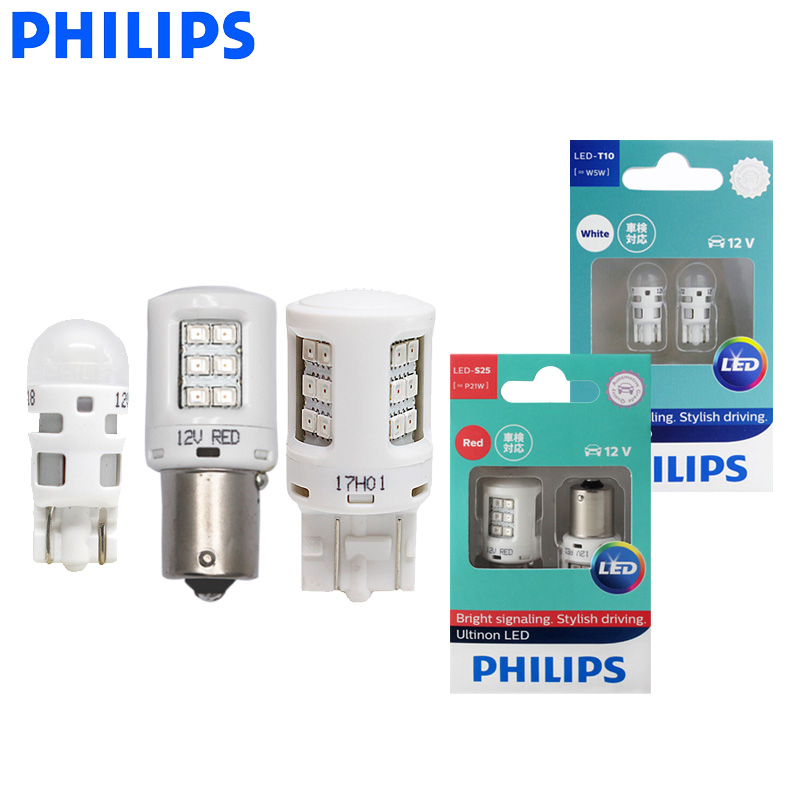 Philips Ultinon <font><b>LED</b></font> T10 T20 S25 W5W W21/5W <font><b>P21W</b></font> P21/5W 12V <font><b>LED</b></font> Turn Signal Lamps Interior Light Reverse <font><b>Bulbs</b></font> (Twin) image