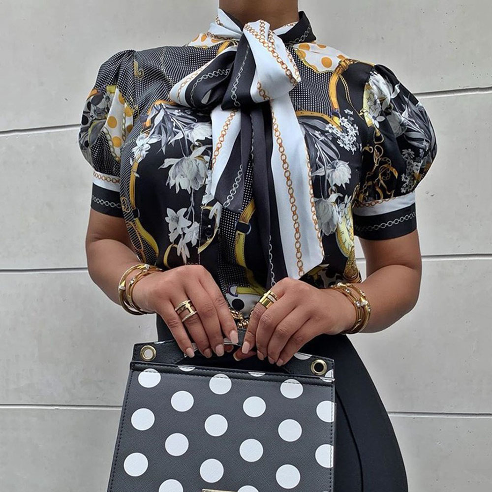 Retro Elegant Black Floral Lantern Blouse Plus Size Women Vintage Office Ladies Turtleneck Bow Lace Up Summer Tops 2020 Shirts