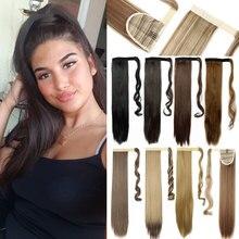 S-noilite 24 ''длинные прямые синтетические конский хвост обертывание вокруг клип в конский хвост наращивание волос термостойкие волосы хвост