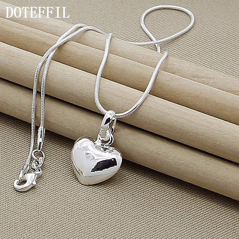 Ha742c39a9ba24475babda0d36d7520d3C - Wholesale 925 Sterling Silver Necklace 18 Inch Snake Chain  Fashion New Jewelry Heart Pendant Necklace For Women Girl Lady Gifts