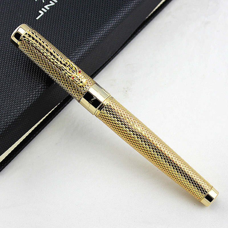 Jinhao golden dragon red crystal eyes fountain pen dragon quest viii golden oldies