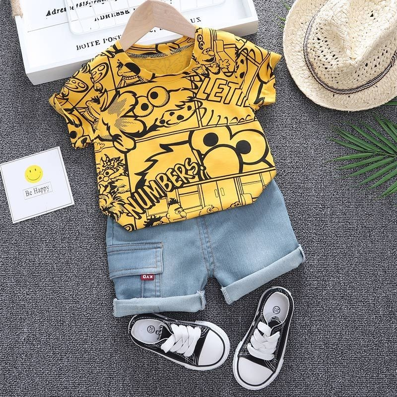 Boys Summer Clothing 2021 New O-neck T-shirt with Denim Shorts 2 Pieces Short-sleeved Sets Children Baby Summer Graffiti Clothes 3