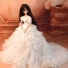 Wedding Dress Princess Clothes Set Doll Accessories for 1/4, 1/3 BJD Dolls - No Doll 1 3 1 4 1 6 bjd dolls clothes fashion white dress for bjd dolls toy clothing dress doll accessories