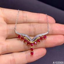 Женское Ожерелье с натуральным Рубином из серебра 925 пробы