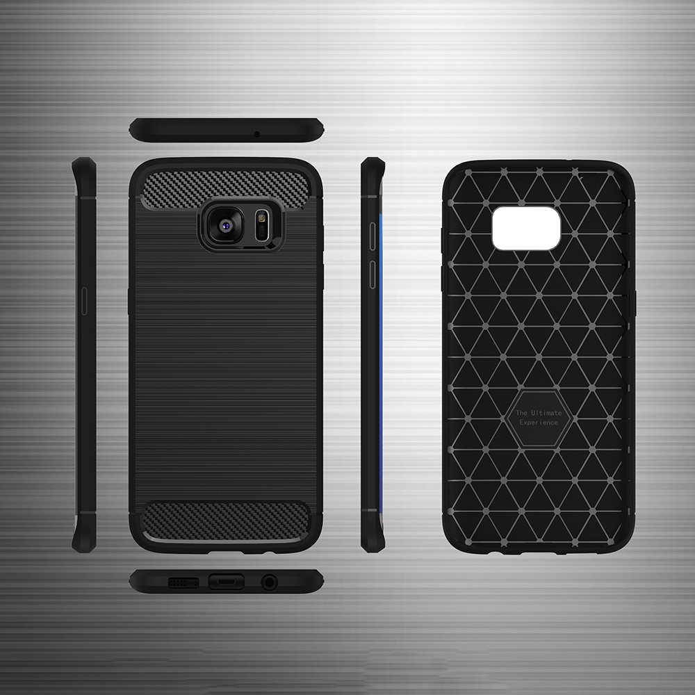 UFlaxe Cassa Del Telefono per Samsung Galaxy S7 Bordo Morbido involucro In Fibra di Carbonio Pennello Antiurto Ultra-sottile Copertura 01LS