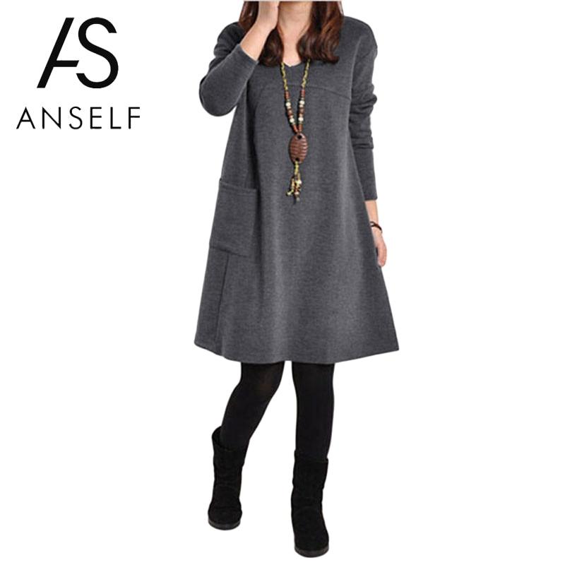 2019 Autumn Winter Large Sizes Dress Elegant Girls School Dress Women Plus Size 3XL 4XL 5XL Long Sleeve V Neck Loose Basic Dress