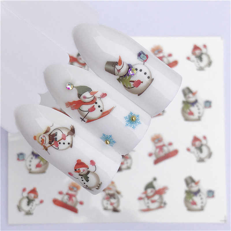 Nail Art Nail sticker New Year Slider Tattoo Christmas Water Decal Santa Claus Snowman Full Wraps Designs Decals