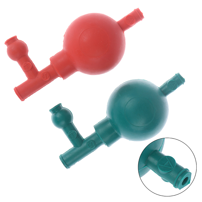 Professional Lab Rubber Suction Bulb Safe Pressure Quantitative Pipette Filler With 3 Valves Red/Green